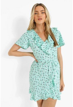 Mint green Woven Ditsy Floral Ruffle Wrap Front Tea Dres