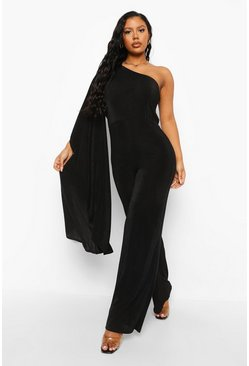Black Textured Slinky Wide Leg Ruffle Jumpsuit