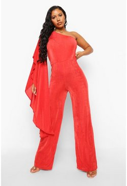 Red Textured Slinky Wide Leg Ruffle Jumpsuit