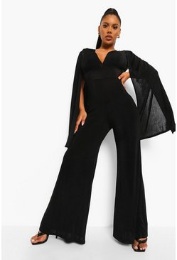 Black Textured Slinky Wide Leg Cape Jumpsuit