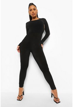 Black Textured Slinky Backless Jumpsuit