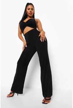 Black Textured Slinky Cut Out Wide Leg Jumpsuit