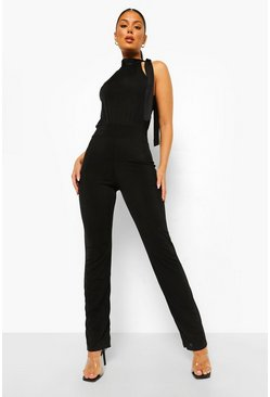 Black Textured Slinky High Neck Sleeveless Jumpsuit