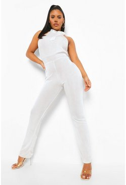White Textured Slinky High Neck Sleeveless Jumpsuit