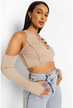 Stone beige Lace Up Cold Shoulder Rib Crop  Top