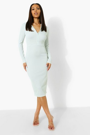 Pale blue blue Waffle Rib Zip Through Midi Dress