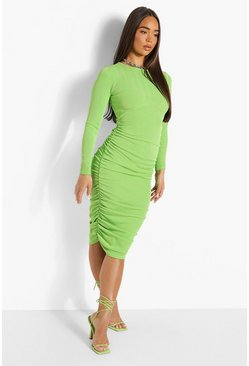 Green Rib Rouche Side Midi Dress