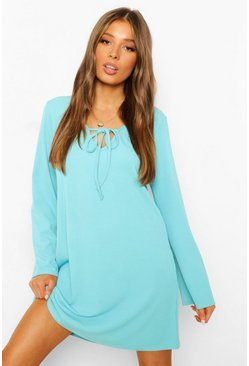 Blue Rib Tie Front Shift Dress