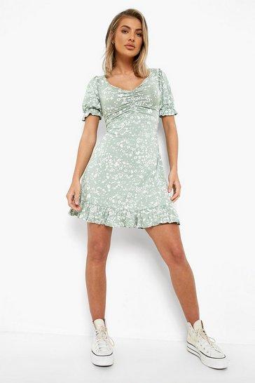 Sage green Floral Print Lace Up Back Skater Dress