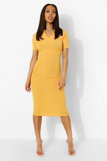 Orange Rib Collar Detail Midi Dress