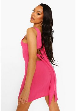 Pink Rib Tie Back Mini Dress