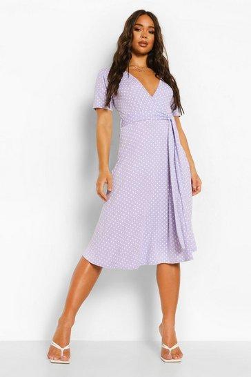 Lilac purple Polka Dot Belted Midi Wrap Tea Dress