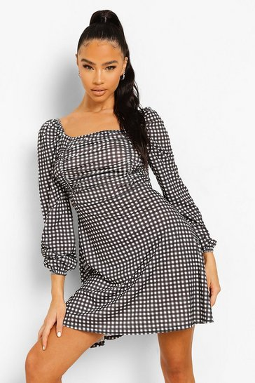 Black Gingham Print Square Neck Skater Dress