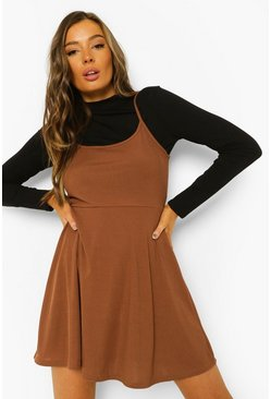 Chocolate brown Rib Strappy Skater Dress And Long Sleeve Top