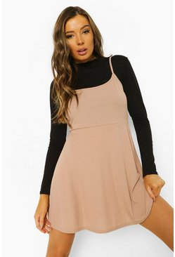 Stone beige Rib Strappy Skater Dress And Long Sleeve Top