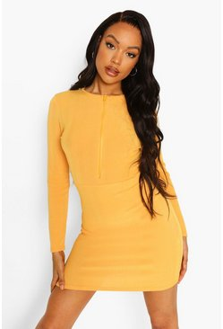 Orange Rib Zip Through Mini Dress