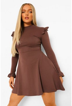 Chocolate brown Long Sleeve Ruffle Detail Skater Dress