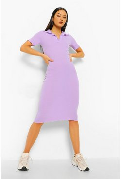 Lilac purple Collared Short Sleeve Rib Bodycon Midaxi Dres