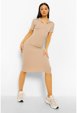 Stone beige Collared Short Sleeve Rib Bodycon Midaxi Dres
