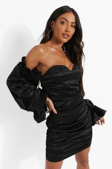 Black Satin Rouched Bardot Long Sleeve Mini Dress