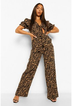 Zebra Front Knotting Jumpsuit , Brown Коричневый