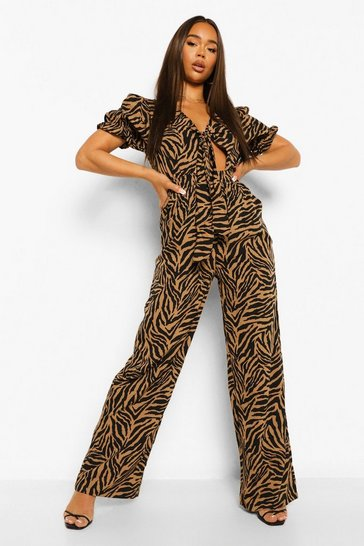 Brown Zebra Front Knotting Jumpsuit