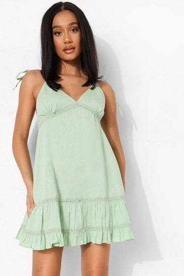 Sage green Cotton Tie Strap Tiered Skater Dress