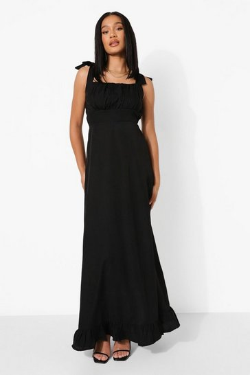 Black Square Neck Tie Strap Ruched Bust Maxi Dress