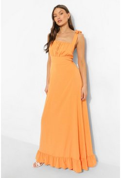 Orange Square Neck Tie Strap Ruched Bust Maxi Dress