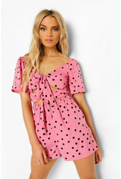 Polka Dot Cut Out Tie Front Playsuit, Pink rosa