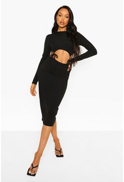 Rib Cut Out Tie Detail Midi Dress, Black noir