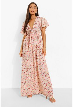 White Floral Frill Sleeve Plunge Maxi Dress