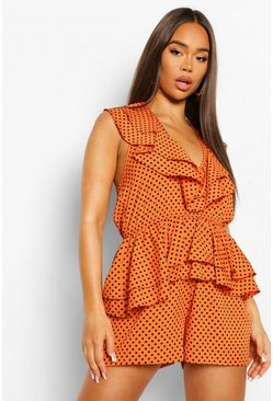 Orange Playsuit Met Stippen, Ruches En Open Rug