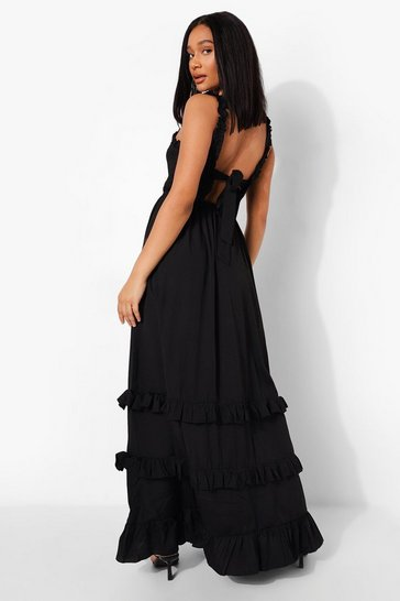 Black Ruffle Shirred Tie Back Tiered Maxi Dress