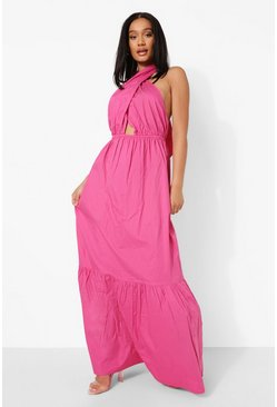 Pink Cotton Wrap Halterneck Drop Hem Maxi Dress