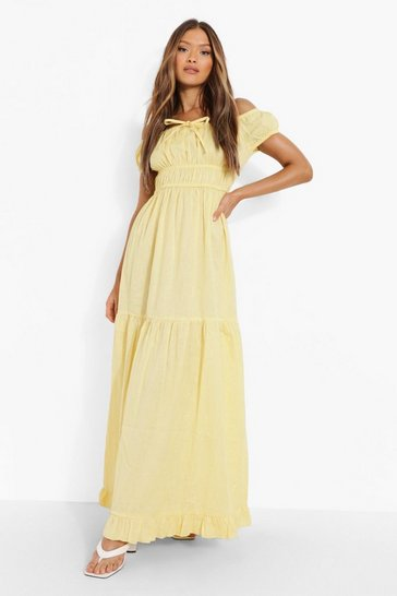 Lemon yellow Cotton Bardot Tie Detail Tiered Maxi Dress