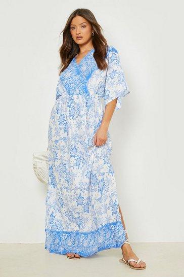 Blue Porcelain Wrap Batwing Maxi Dress