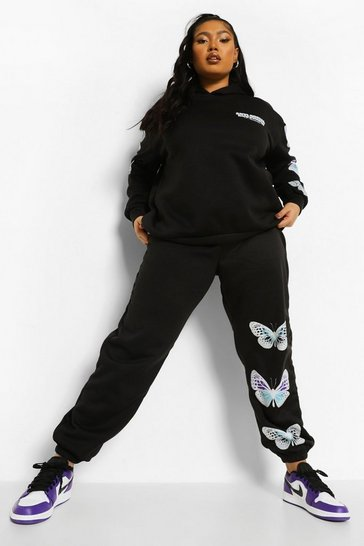 Black Plus Butterfly Sleeve Hooded Tracksuit