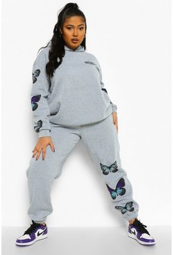 Grey Plus Butterfly Sleeve Hooded Tracksuit