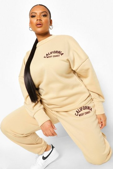 Stone beige Plus California Oversized Sweat Tracksuit