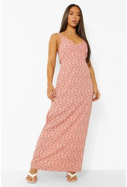 Pink Ditsy Floral Maxi Dress