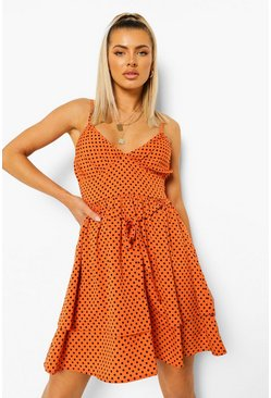 Orange Polka Dot Strappy Printed Pleated Swing Dress