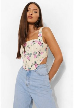 Yellow Boning Detail Floral Corset Crop Top