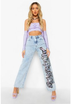 Bleach wash High Waist Boyfriend Jeans With Print