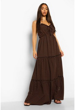Black Polka Dot Tie Bust Tiered Maxi Dress
