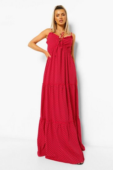 Red Polka Dot Tie Bust Tiered Maxi Dress