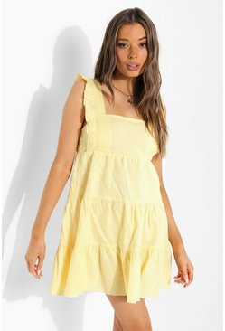 Ruffle Strappy Tiered Smock Dress, Lemon amarillo