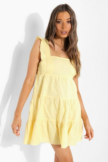 Lemon yellow Ruffle Strappy Tiered Smock Dress