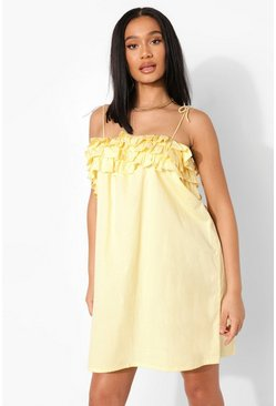 Lemon yellow Cotton Strappy Ruffle Bust Shift Dress