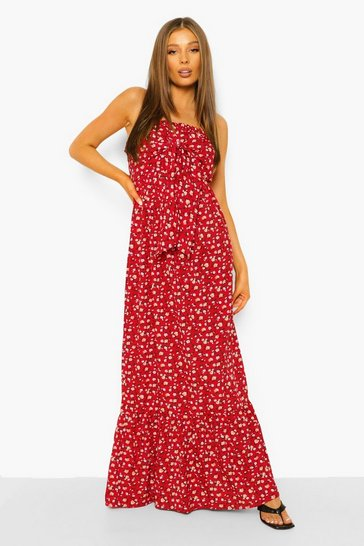 Red Ditsy Floral Bandeau Knot Detail Maxi Dress